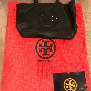 Tory burch black pebble leather tote
